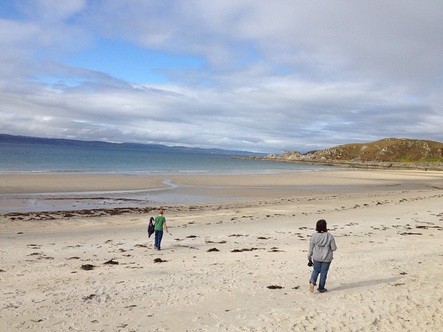 beautiful camusdarach beach in scotland with kids