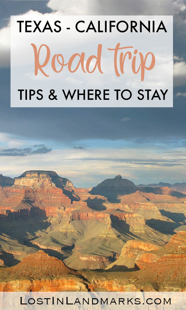 Tips for doing a road from Texas to California, where to stay and what to do.  We went from Dallas to the border of California along Route 66 taking in retro towns and also national parks, including a side trip to the Grand Canyon.  #USAtravel #roadtrip #Route66