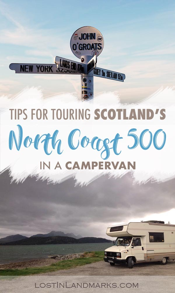 Tips for driving Scotland's North Coast 500 road trip in a campervan.  The NC500 sees the scottish highlands countryside and is perfect to do in a motorhome.