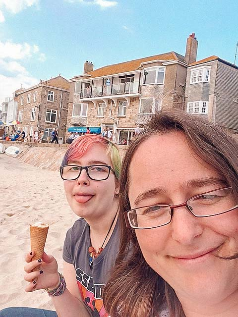st ives beach and ice cream