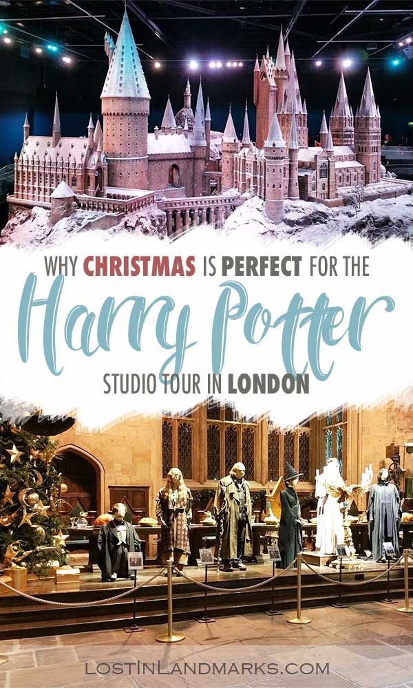 Christmas is perfect for visiting the Harry Potter Warner Bros Studio in London. Here's tips for your bucket list visit to see Hogwarts, Diagon Alley and all the outfits! #harrypotterlondon #harrypotterstudiotour