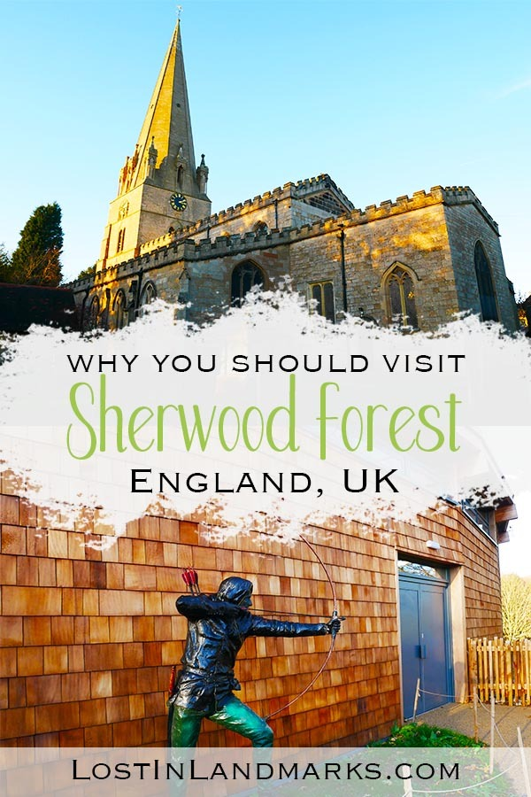 Sherwood Forest is near Nottingham in England, UK . Here's the complete guide to visiting the home of Robin Hood, the Major Oak tree where he had his hideout and the church at Edwinstowe where he married Maid Marian #robinhood #uktravel