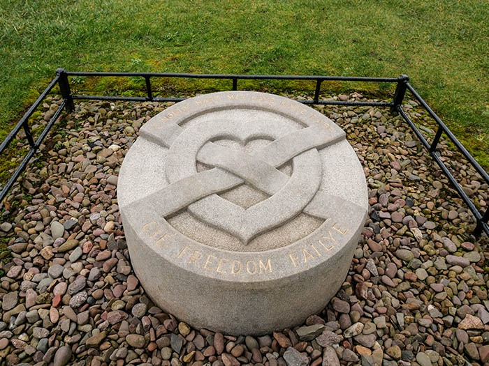Marker where Robert The Bruce's heart is said to have been buried