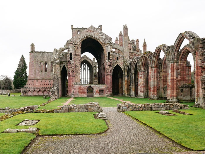 Melrose Abbey ruins in Scottish Borders