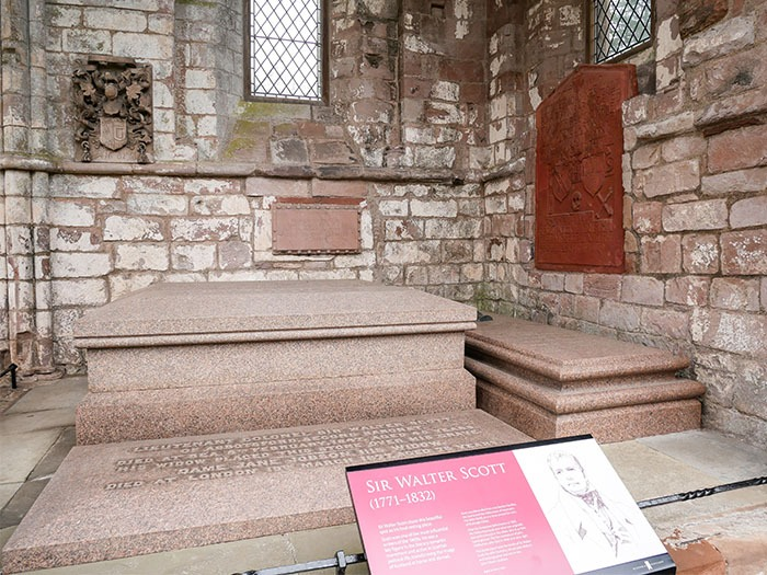 Sir Walter Scott grave in Dryburgh Abbey