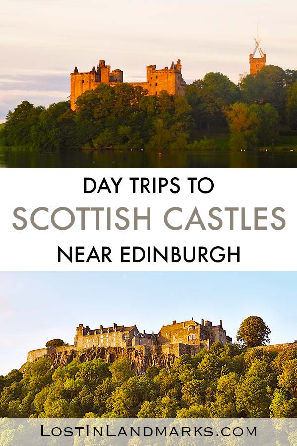 Gorgeous and romantic castles near Edinburgh in Scotland. Some ruined, some still used these castles and palaces are a great thing to do if you're in the city of Edinburgh or exploring Scotland. Perfect day trips to see the history of Scotland. #castles #scotlandtravel