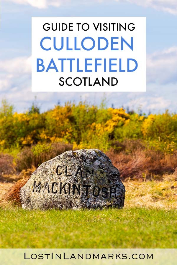 Guide to visiting the site of the Battle of Culloden whic happened in the Highlands of Scotland in 1746 after the Jacobite uprising of 1745. A sombre and reflective place to learn about the Scottish Highland clans who fought and were buried there. Genealogy travel | History travel | Scotland history | Culloden Moor Battlefield | Inverness things to do | Scottish Highlands vacation